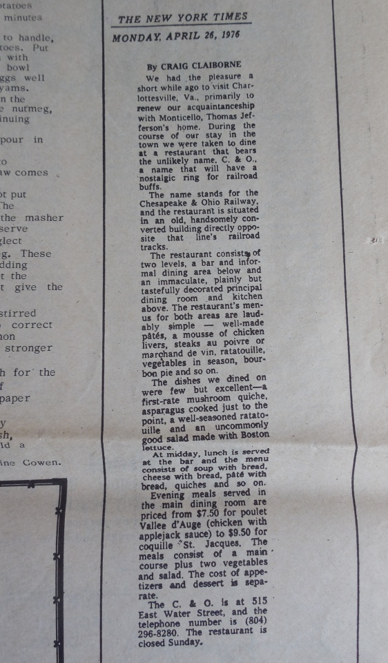 Original NYT review of the C&O by Craig Claiborne, which they used as an ad.