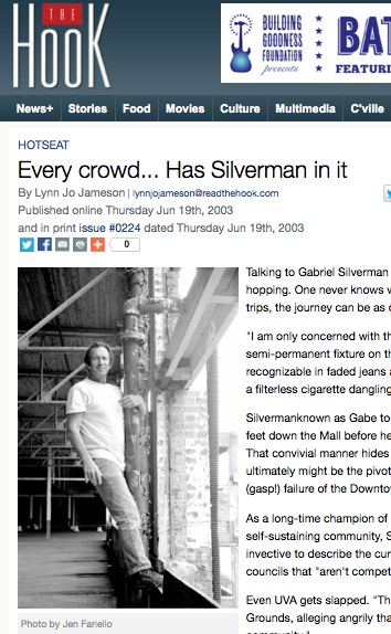Silverman got a lot of press over the years, including this Hotseat feature in the Hook.