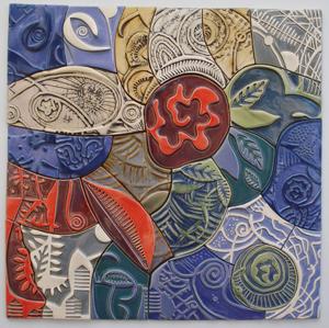 "At McGuffey Art Center: ScottSupraner, ""Journey to Mars"", stoneware clay and glaze, 28 x 28″"