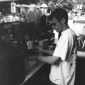 Andrew Vaughan, manning The Java Hut. 1995.
