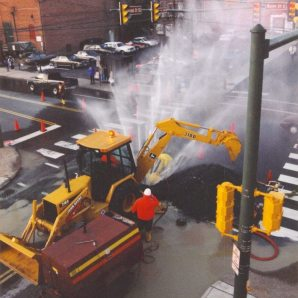 A underground water pipe ruptured at the corner of 2nd SE and Water St. This would have been around 1999, I believe.
