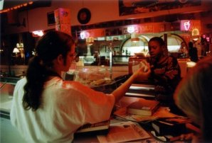 Behind the counter at Chaps, October 1995.